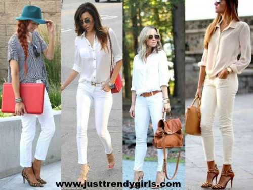 white pants with cognac bag