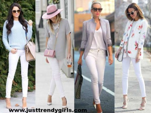 white pants with pastel tops