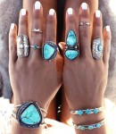 Bohemian silver rings with turquoise stones