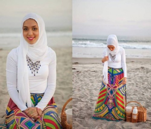 aztec maxi skirt hijab look