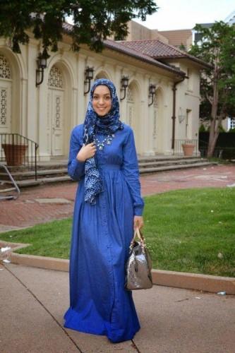 blue long sleeve maxi dress hijab outfit