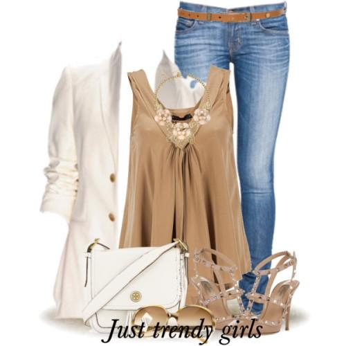 neutral casual wear, blazer and coffee top with jeans