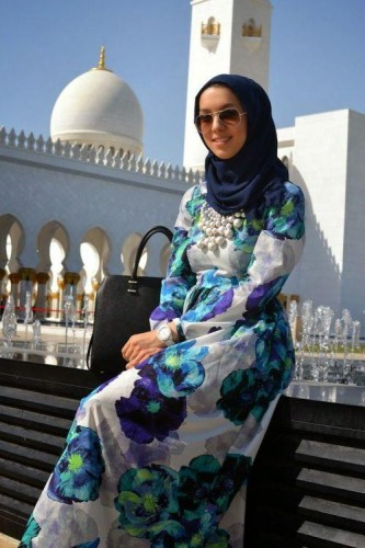 floral dress hijab outfit