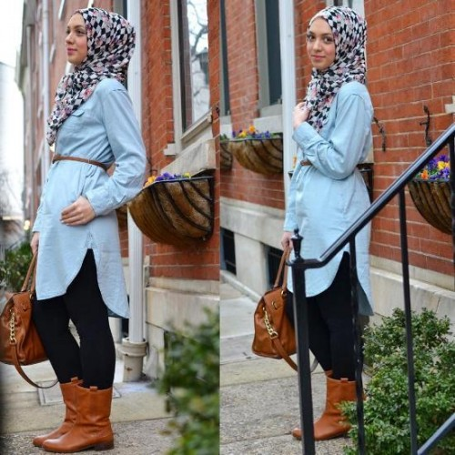 long denim shirt hijab outfit