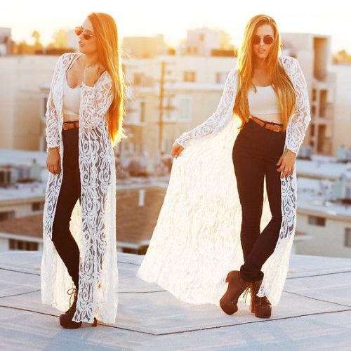 long lace cardigan in white