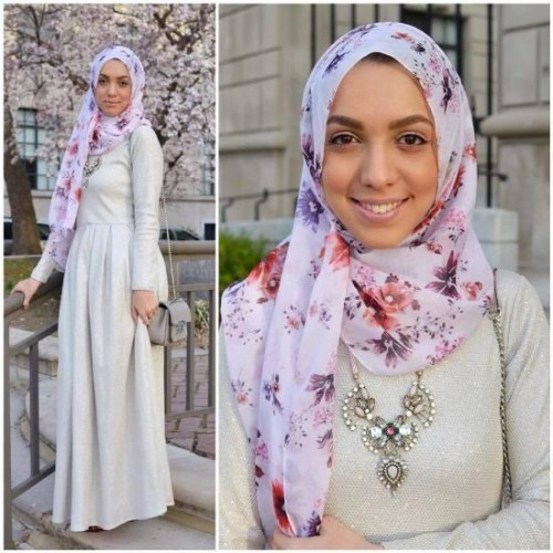oof white maxi dress hijab,