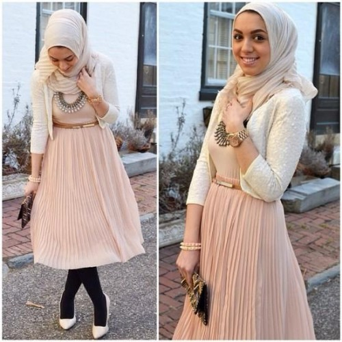 pastel hijab outfit,