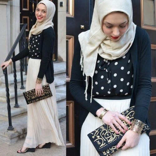 pleated maxi skirt hijab,