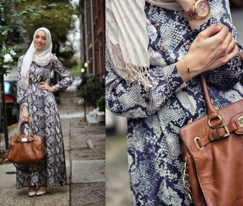 printed maxi dress hijab look