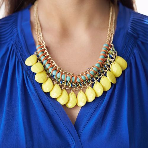yellow cluster statement necklace