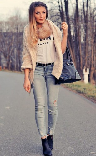 beige-knit-cardigan outfit