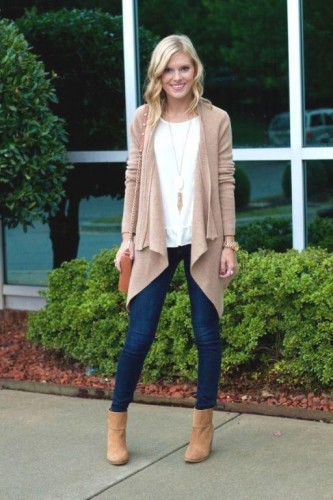 beige tan cardigan with jeans