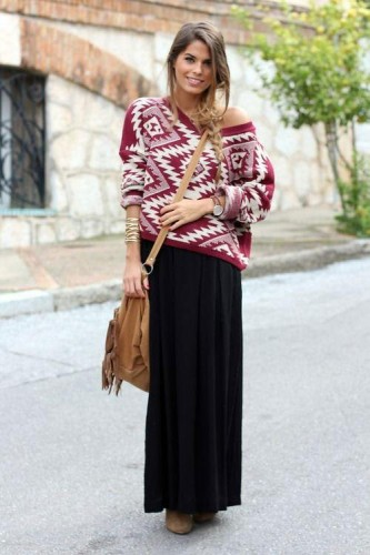 black maxi skirt with knit sweater