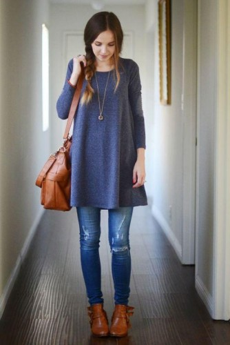 blue sweater with jeans