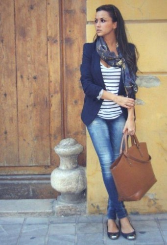 casual striped top with blazer