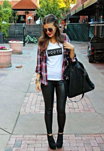 checked shirt with ankle boots