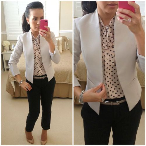 chic blazer with polca dots blouse
