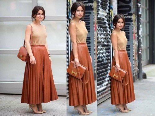 cognac pleated leather maxi skirt