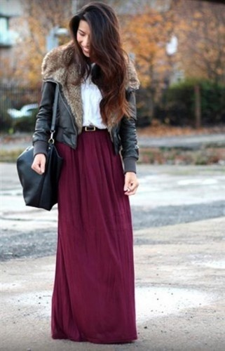 crimsom maxi skirt with jacket