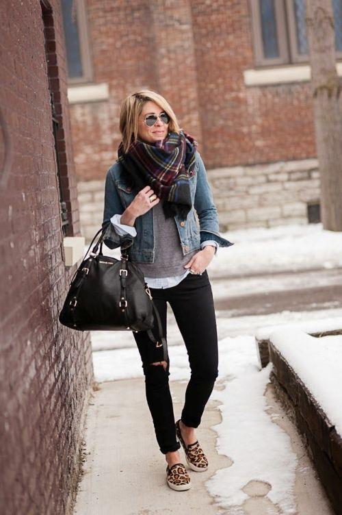 denim jacket layering outfit