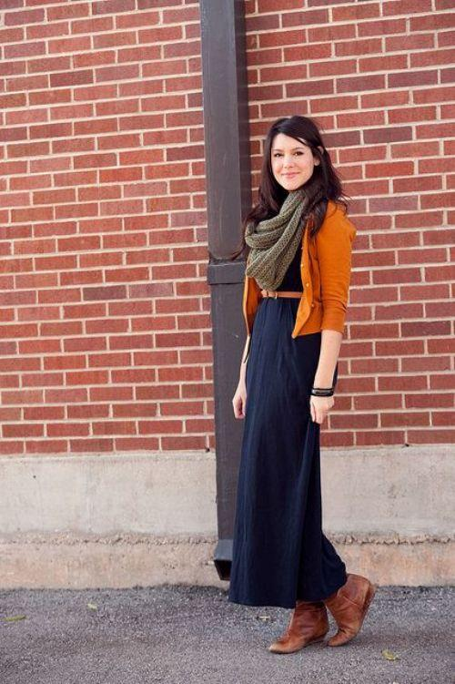 fall dress with cardigan