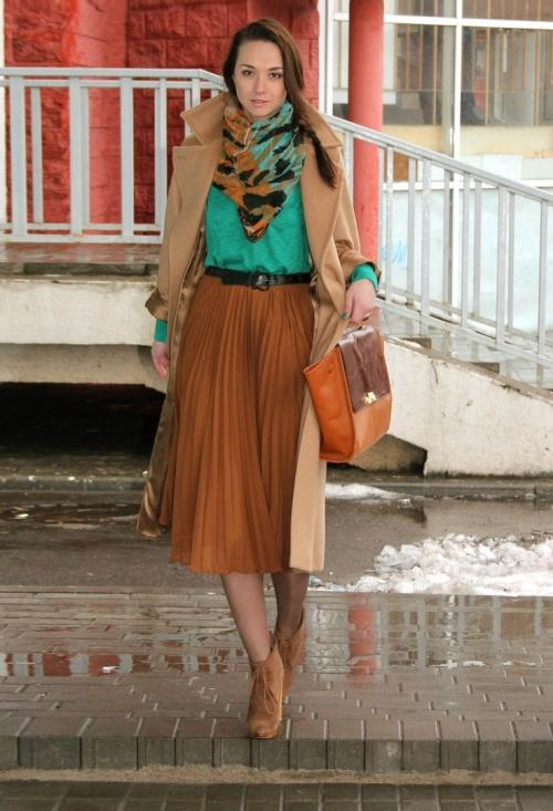 fall earthy tones pleated skirt