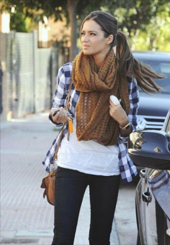 flannel shirt with tan scarf