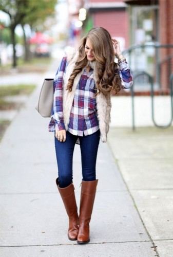 fur vest with checket shirt