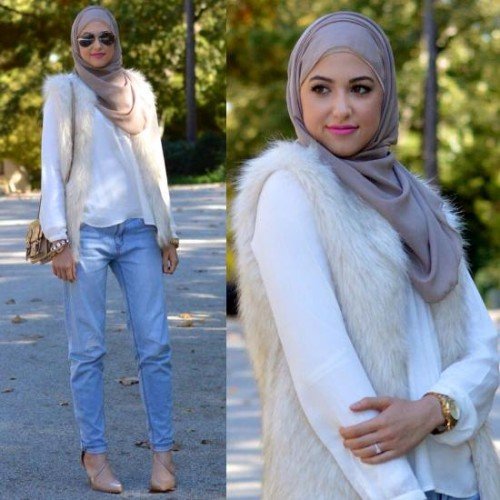 fur vest with white blouse