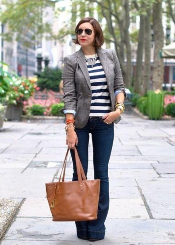 gray blazer with striped tee