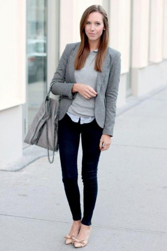 gray blazer work outfit