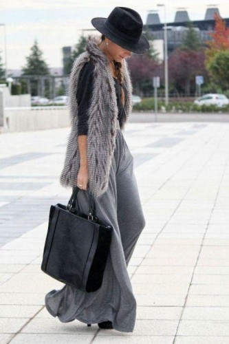gray fur vest with gray skirt