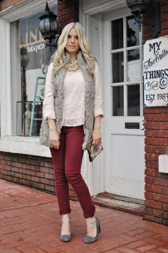 gray fur vest with maroon pant