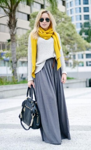 gray maxi skirt with yellow scarf