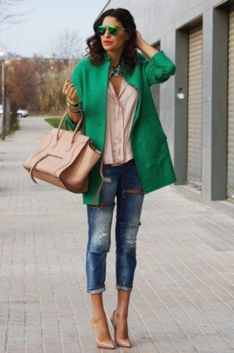 green blazer with neutral blouse