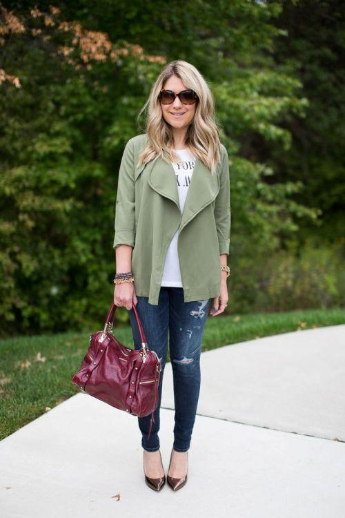 green jacket fall outfit