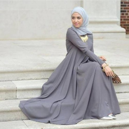 grey maxi hijab dress