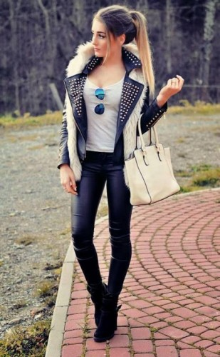 how to wear fur vest with leather jacket