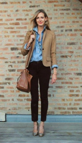 kaki blazer with denim shirt