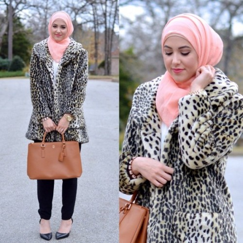 leopard coat hijab look