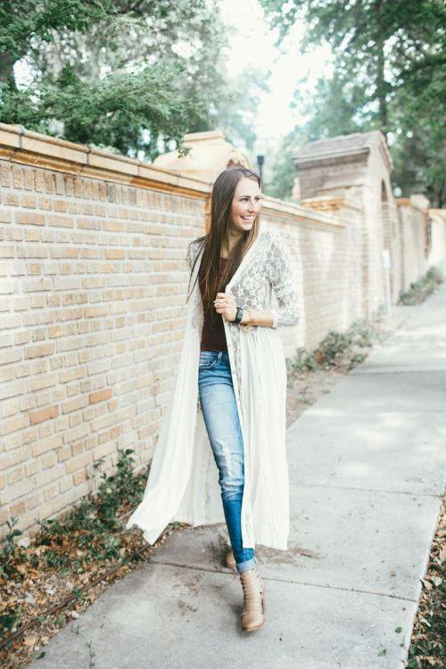 long lace cardigan outfit