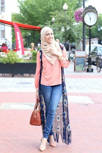 long lace vest hijab look