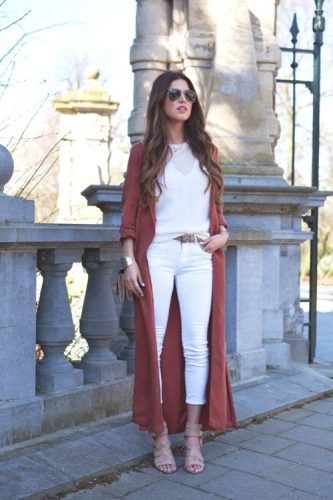 long red rust cardigan with white outfit