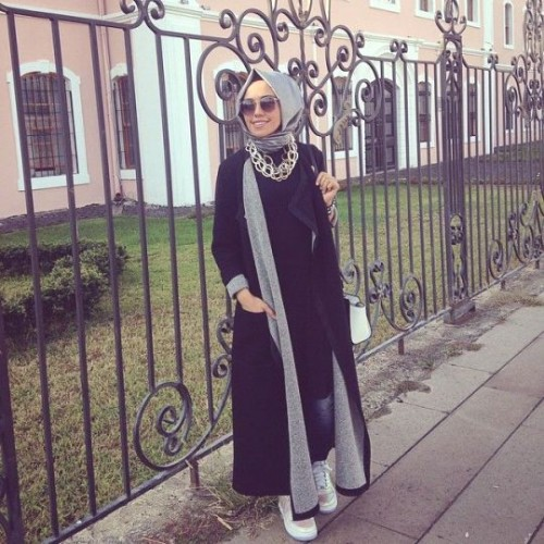 long tunic and cardigan hijab