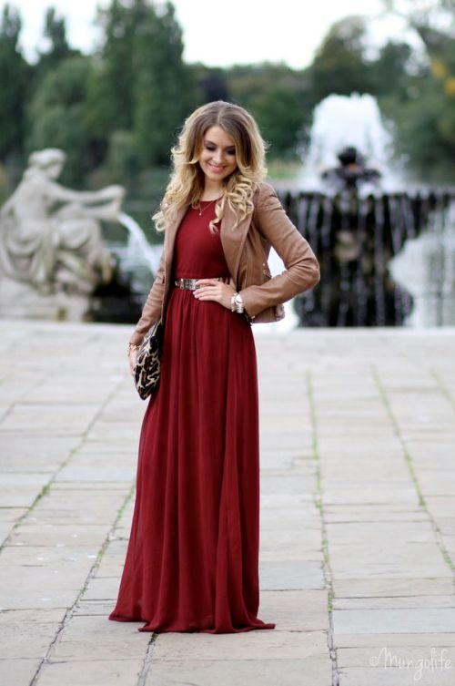 maroon long dress with jacket