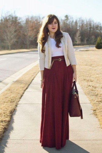maroon maxi skirt with cardigan