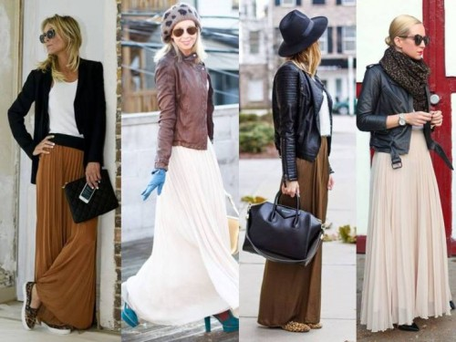 maxi skirts with leather jackets