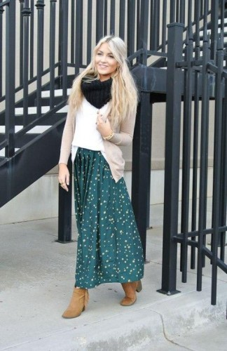 midi skirt with cardigan and boots