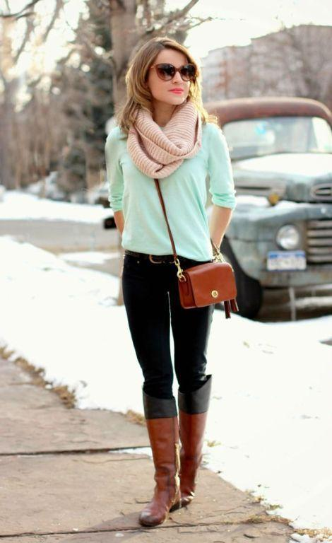 mint tee with scarf outfit
