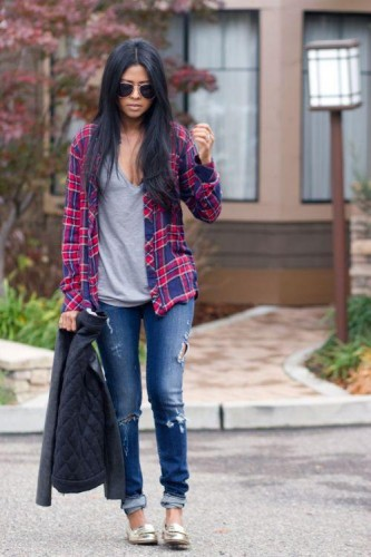 open plaid shirt with tee